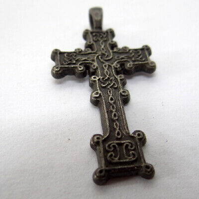 Celtic Scandinavian Ancient Artifact Silver Cross With Celtic Cnot
