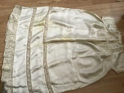 Stunning Antique Vintage Christening Gown. Lace And Silk Possibly Victorian