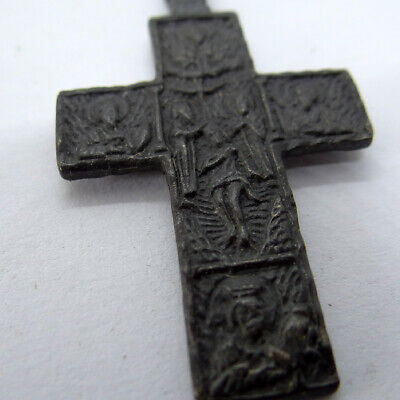 Russian Orthodox Ancient Artifact Bronze Cross Double Sides With Scene