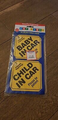 Car Signs Displaying 'Child in Car' and 'Baby in Car' - in yellow