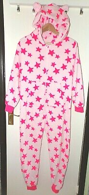 Hooded fleece one piece PJ's NEXT age 12 pink stars all in one