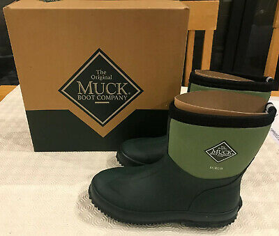New Muck Boots Size 4 Scrub Short Wellies Boots Mens Ladies Green SCB-333E