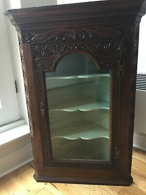 Antique Hanging Corner Cabinet English Oak Wall Cupboard
