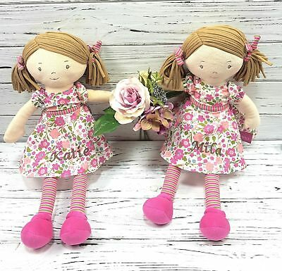 Personalised Vintage Rag Doll  40cm Baby Gift Pink Bonika Dress Embroidered