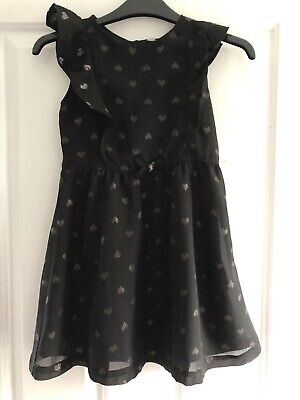 H & M Girls Black Dress Silver Hearts Age 6-7 Cute XMAS Party