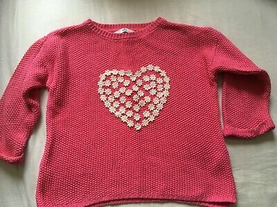 Girls pink DAISY chain jumper age 8-9 years Marks & Spencer cotton