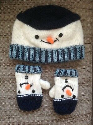 Next Boy's Snowman Knitted Hat And Mittens Set Fleece Lined 3-6 Years