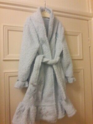 Girls Disney Frozen fluffy Dressing Gown Pale Blue Size 5-6 Years