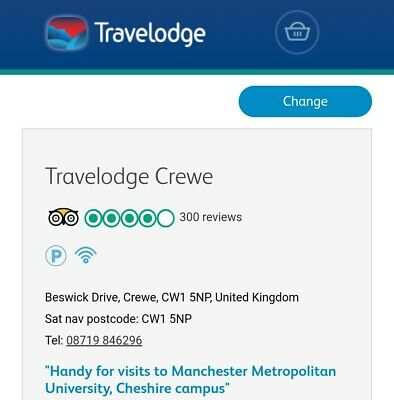 Travelodge Crewe Central Twin Room 11 December 2019 - 2 nights breakfast