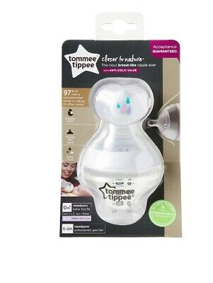 Tommee Tippee Closer To Nature Bottle With Pacifier, BPA FREE ANTI-COLIC, 0+m