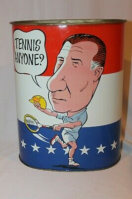 Vintage 1970 Wastebasket SPIRO AGNEW Playing Golf & Tennis EXCELLENT GRAPHICS