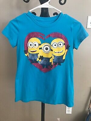 Girls Despicable Me 2 MINIONS Turquoise Shirt size Large 12/14