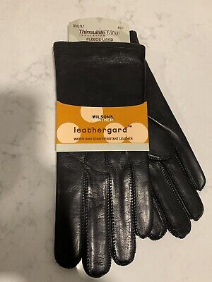 MENS WILSONS LEATHER (Black)GLoves Fleece Lined Gloves Size L