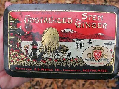 Vintage S. S. Pierce Co. Crystallized Stem Ginger Spice Tin Boston Mass. / Ma.