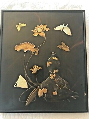 Japanese Mixed Metal Wood Plaque Gold, Bronze No Reserve