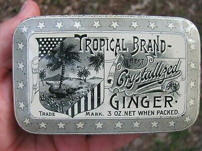 VINTAGE TROPICAL BRAND CRYSTALLIZED GINGER SPICE TIN w/ ALLIGATOR