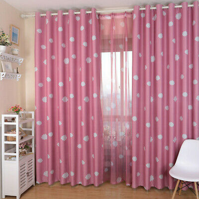 Cloud Printed Curtain Coated Blockout Eyelet Window Drape For Kids Bedroom