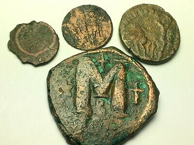 ANCIENT AUTH. 4 RARE$ Coins; 1 BYZANTINE 527 AD. 3 ROMAN 307 AD.; SPEARING, LEG.
