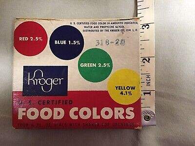 Kroger Brand Food Coloring Bottles Vintage With Box