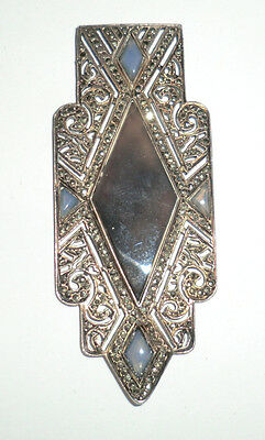 Antique Vintage Art Deco French Sterling Marcasite & Blue Chalcedony Pendant Old