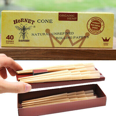 AUTHENTIC HORNET 120 x King Size Classic Pre-Rolled Rolling Paper Cones 3 Packs