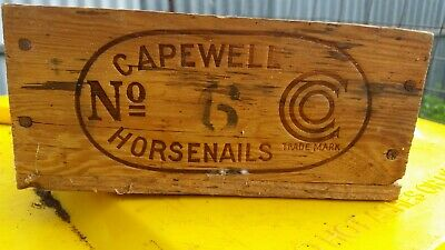 Vintage Capwell Horse nails Wooden Box No 6 - 7lb Made In England