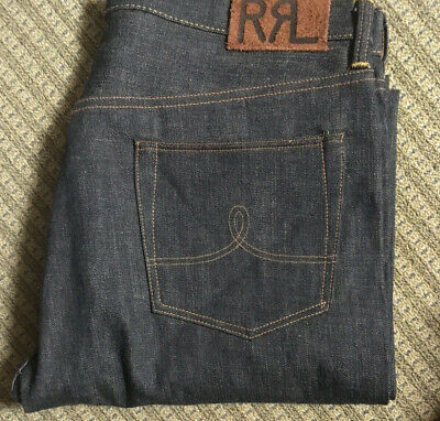 RRL double rl Mens Low Straight Japan Woven Selveged Denim Jeans new faded wash