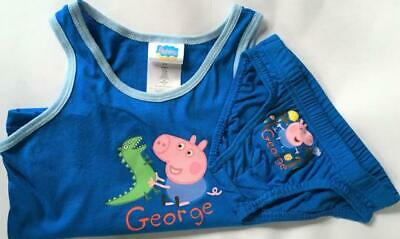 New Boys George Peppa Pig Pants & Vest 2Pc Set - Exstore - White Blue - 3-8 Yrs