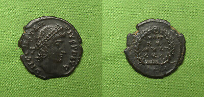 Constantius II AE Follis Antioch 347-8 AD Vows of 30 years rx. NICE portrait!