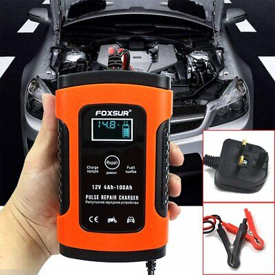 12V 5A Pulse Repair Battery Charger for Car Motorcycle AGM GEL WET Lead Acid LCD