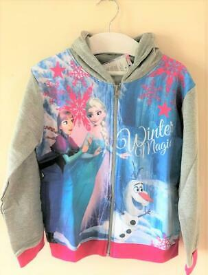 New Girls Frozen Zip Through Hoodie - Official Disney Frozen - Sizes 3-8 Years