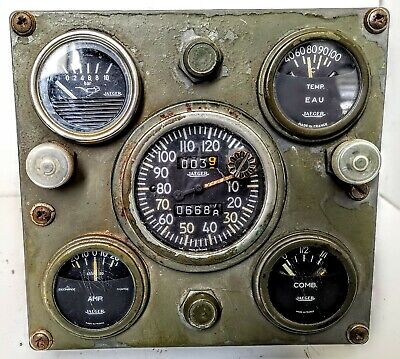 Simco Marmon Military Truck Jaeger Housed Instrument Panel, 5 Dials, Oil, Temp,