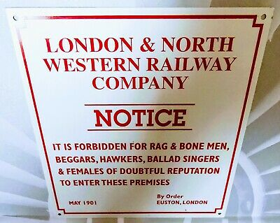 """Lnwr London & North Western Railway Company Notice Enamelled Tin Sign """"It Is Fo"""