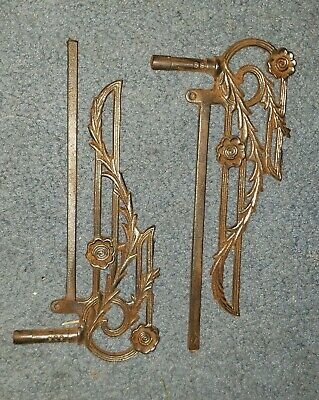 2 Vintage Cast Iron Swing Arm Curtain Rods