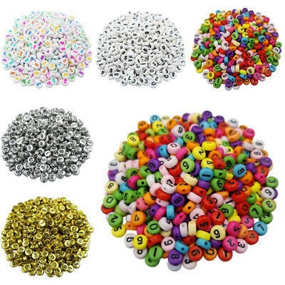 100Pcs/set DIY Acrylic Mixed Number Loose Spacer Beads 7mm For Jewelry Bracelet