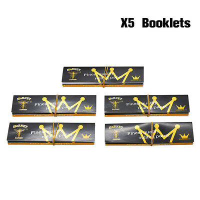 5 X HORNET 110mm King Size Organic Tobacco Rolling Papers + Filter Tips