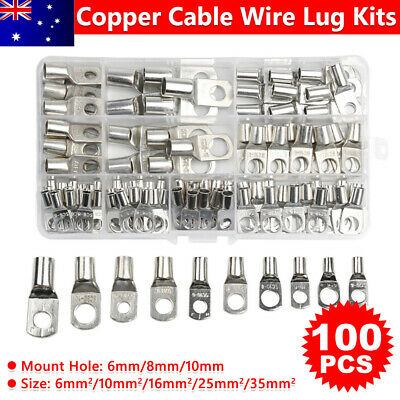 100X Electrical Battery Cable Lugs Copper Wire Connector Terminal Kits SC6~SC35