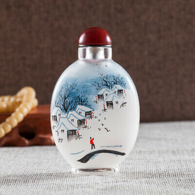 Inner Painting Snuff Bottle Antique Beautiful Snowy Scenery in South of China
