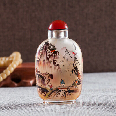 Chinese Antique Inner Painting Snuff Bottle Mountains in Autumn Ancient Charm