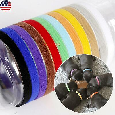 12 Colors Pet Dogs Puppy Cat Newborn Identification ID Collars Bands Whelping US