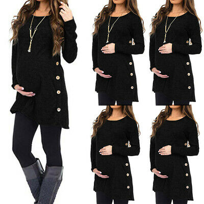 Women Maternity tops Long Sleeve Solid Tops Blouse Pregnant Button T-Shirt Tee