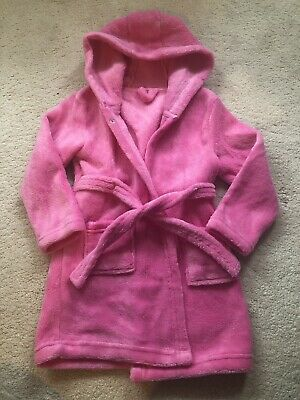 Girls Pink Hooded Dressing Gown - Size 2-3 Yrs