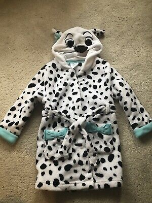 Girls Dalmatian Hooded Disney Dressing Gown - Age 3 Years
