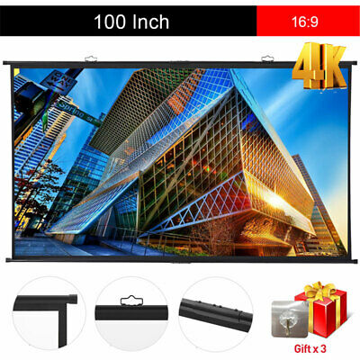 "Portable 100"" Hanging Projector Screen 16:9 HD Home Theater Outdoor 3D Movies AU"