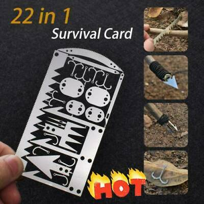 Camping Survival Card Multi Tool Wilderness Survival Gear Hunting Hiking Kit New