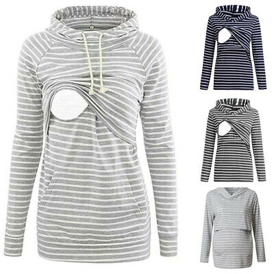 Women Pregnant Maternity Long Sleeve Stripe Breastfeeding Hoodie Sweatshirt Tops