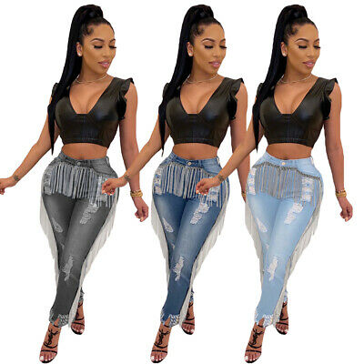 Women Tassel Stretch Ripped Jeans High Waist Slim Denim Pants Trousers Pencil