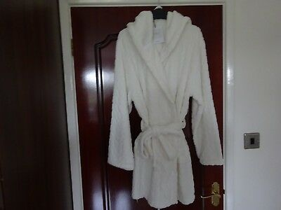 John Lewis Short Soft Fleece Ivory  Dressing Gown Size Large