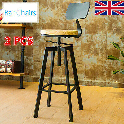 2X Breakfast Bar Stools Industrial Retro Vintage Pub Kitchen Dining Chair Stool
