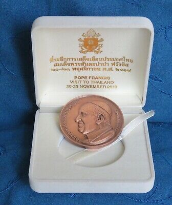 2019 Pope Francis Visit To Thailand 45mm Copper Medal Coin with Box Thai